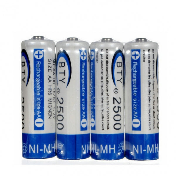 4pcs BTY 1.2V 3000mAh AA Ni-MH NiMH Rechargeable Batteries Blue