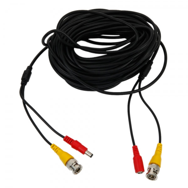 50ft/15.24m BNC+DC Extension Cable for Surveillance System Black and Yellow and Red