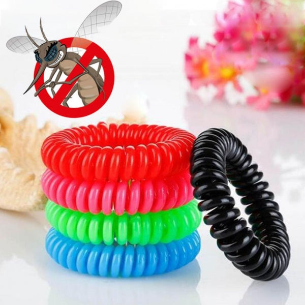5PCs/lot Outdoor Mosquito Repellent Bracelet Spiral Wrist Hair Band Pest Control Random Color