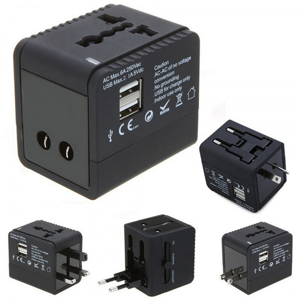 5V 2.1A 2-USB Worldwide Universal Travel Adapter Charger with US EU UK AU Plug Black