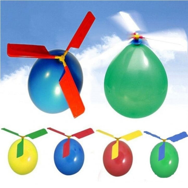 5pcs Classic Balloon Helicopter Simple Assembly Portable Flying Toys Random Color