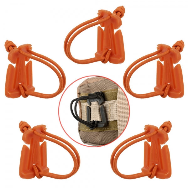 5pcs Outdoor Nylon Winder Fixing Buckle with Elastic Rope Orange