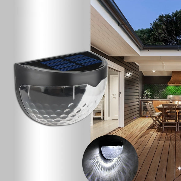 6 LED Droplet Shape Solar Wall Light Waterproof Outdoor Lighting - Cold Light & Black