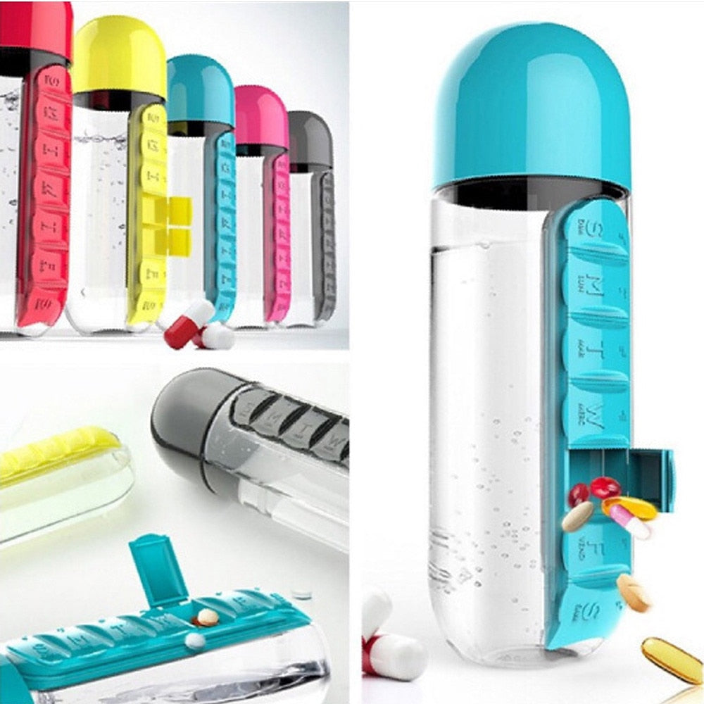600ml Sport Water Bottle With Built-in Daily 7 Daily Pill Box Vitamin Organizer 600ML Pill Water Bottle Water Bott