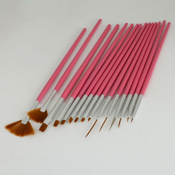 15pcs Nail Art Painting Pen Brush Set with Pink Handle 2#