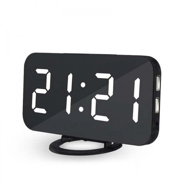 6.5inch Large Number Digital Alarm Clock Mirror Led Table Clock White/Red/Green/Blue
