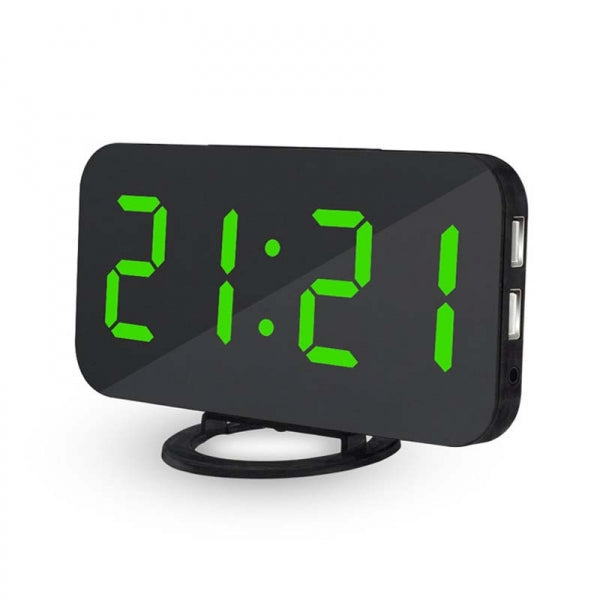 6.5inch Large Number Digital Alarm Clock Mirror Led Table Clock Green-Can be used as a makeup mirror and  mobile phone charger