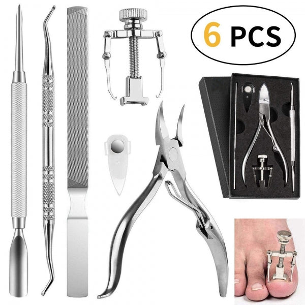 6Pcs Ingrown Toenail Corrector Surgical Nail Clipper Lifter Corrector Pusher Stainless Steel Pedicure Tools