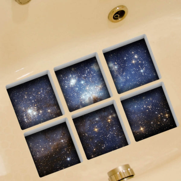 6pcs 13*13CM DIY 3D Anti Slip Waterproof Bathtub Sticker Removable Mural - Luminous Sky