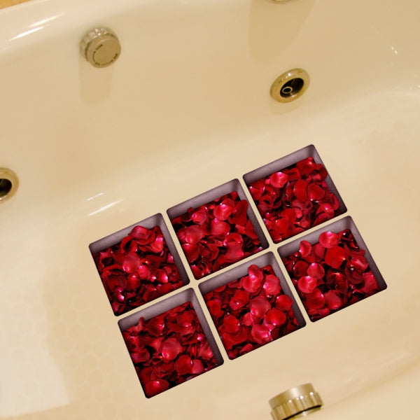 6pcs 13*13CM DIY 3D Anti Slip Waterproof Bathtub Sticker Removable Mural - Rose Petals
