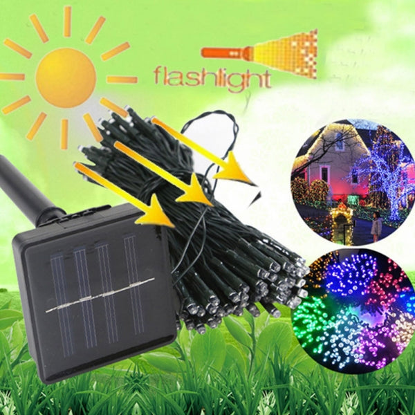 6W 100-LED Solar Powered Light Sensor Control Holiday Decorative Light String Colorful Light