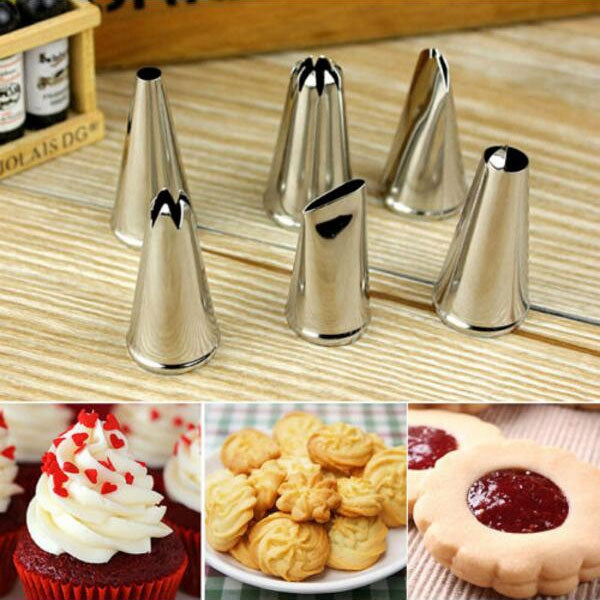 6pcs Stainless Steel Cake Decorating Nozzles Pastry Tube Tips Silver