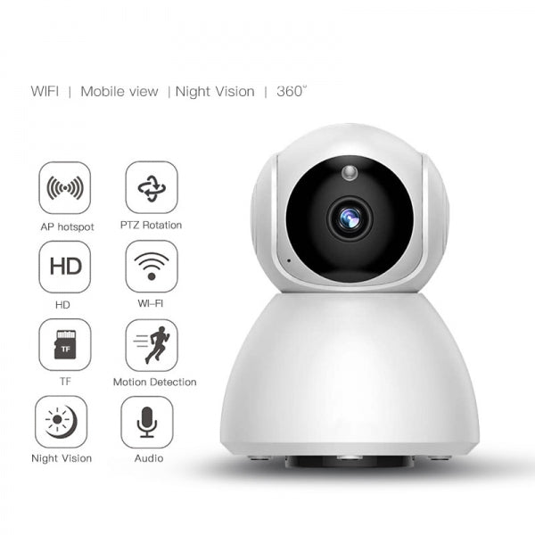 720P Wireless Wifi IR Night Vision Intelligent Pan Tilt Two Way Audio Motion Detection Home Security IP Camera Monitor - EU Plug