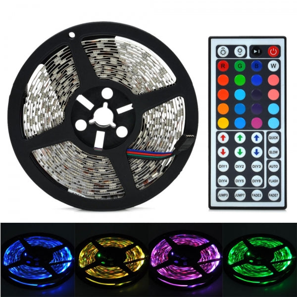 5M 12V 72W 4000LM 300LEDs 5050 SMD RGB LED Light Strip with 44 Keys Remote Controller & Mini Control