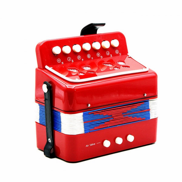 7-Key 2 Bass Mini Accordion Musical Instrument Toy Gift for Kids Red