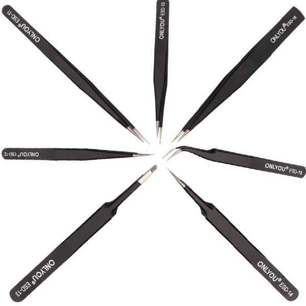 7pcs ONLYOU Precise Antistatic Stainless Tweezers Set Black & Silver