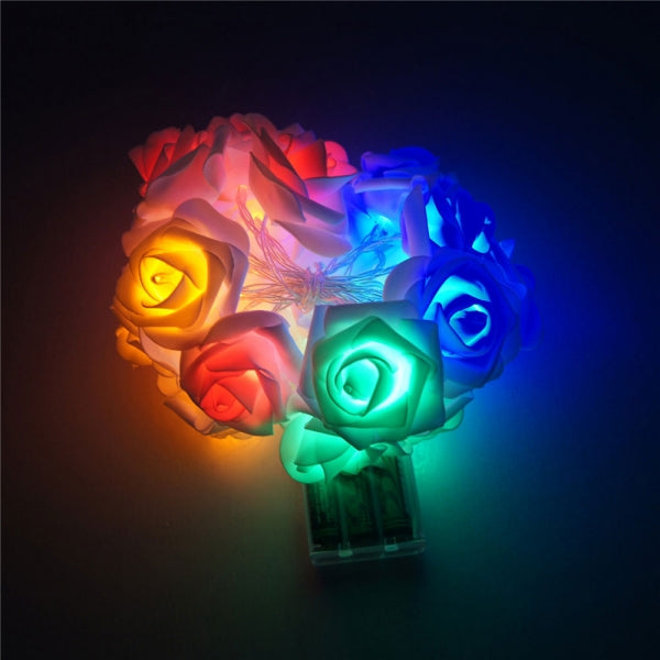 20 LED Roses  String Light 8 Color Night Light - Colorful