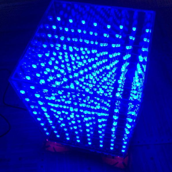 8x8x8 Cube 3D Light Square Blue LED Electronic DIY Kit w/ Unwelded PCB Board + Fog Blue Square Lamp
