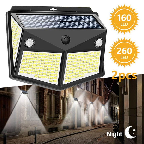 160 LED/260 LED Solar Light Outdoor Powered Sunlight Lamp Waterproof PIR Motion Sensor Street Spotlight for Garden Decoration 3 Modes