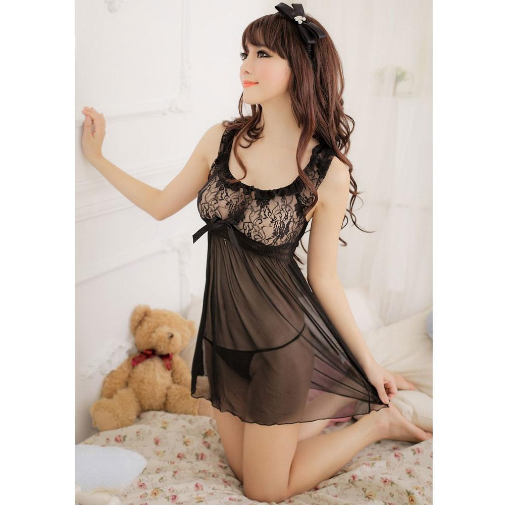 Sexy Mesh Floral Lace Chest Babydoll & G-String Women's Lingerie Set Black