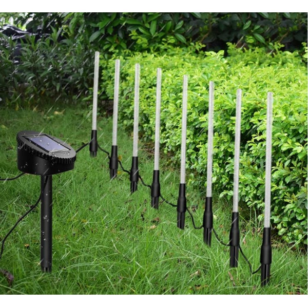 8 pcs Solar Power LED Light Tubes Acrylic Bubble Garden Lawn Lamp Decor Set
