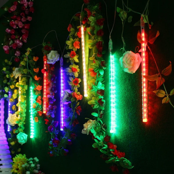 8pcs 30CM LED Waterproof Meteor Shower Light Tube EU Plug - Multicolor