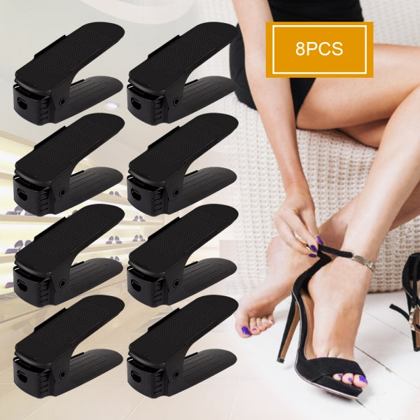 8pcs Japanese Magic Shoe Storage Rack Shoe Slots Space Saver Adjustable Waterproof Shoe Organizer - Black