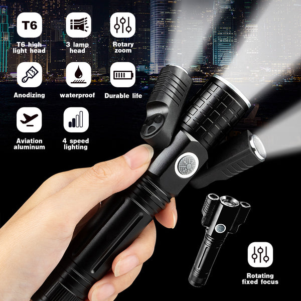 High Power Deformable LED Flashlight 5000 Lumen  L2 XPE Light Zoomable 18650 Battery Lamp 4 Mode Camping  USB Rechargeable Work Torch