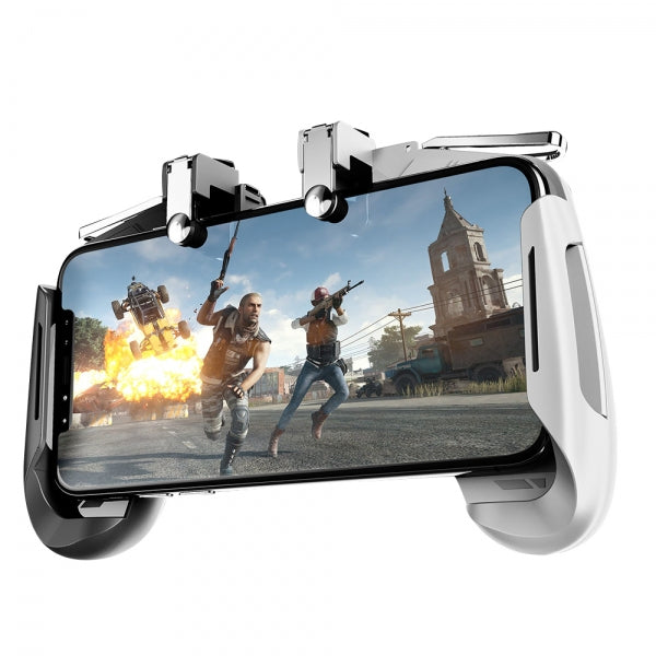 AK16 All-in-One PUBG Mobile Game L1R1 Trigger Fire Button Stretchable Shooter Joystick Gamepad for IOS Android Phone Black&White