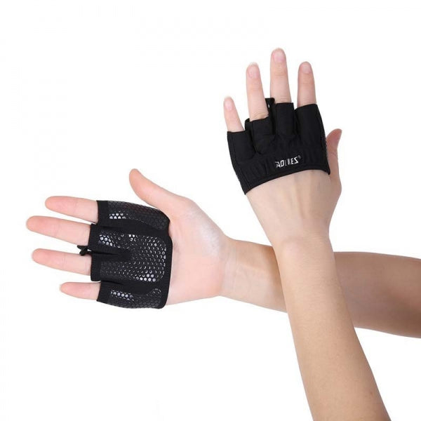 AOLIKES Unisex Four Finger Anti-slip Breathable Weightlifting Yoga Gym Sport Protective Gloves - Black & Size M