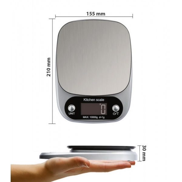 Accurate Digital Kitchen Scale LCD Display Food Scale Gram Electronic Baking & Cooking Weighing with Multifunction - 10kg/1g