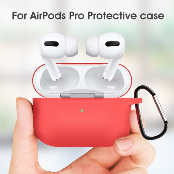AirPods Pro Case Soft Silicone Protective AirPods Accessories Cover Front LED Visible Compatible with AirPods Pro Wireless Charging Case Red