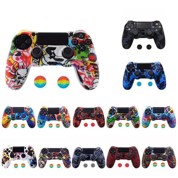 Anti-slip Silicone Camo Protective Skin Case for SONY Playstation 4 PS4 Pro Slim Gamepad Controller Protection Joystick Caps