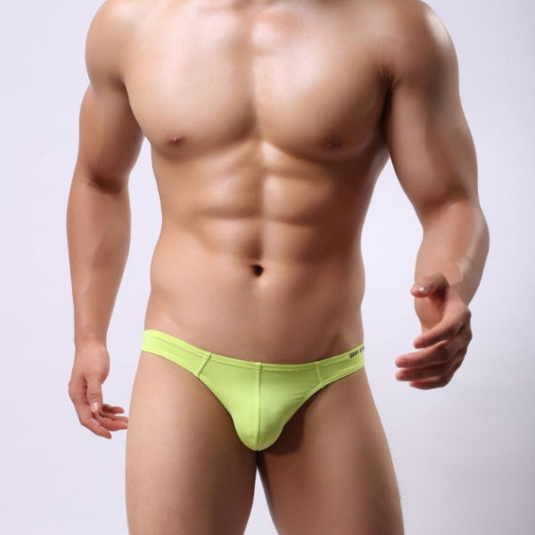 BRAVE PERSON Mens Swim Pants U Convex Thongs Briefs - Neon Green & Size M