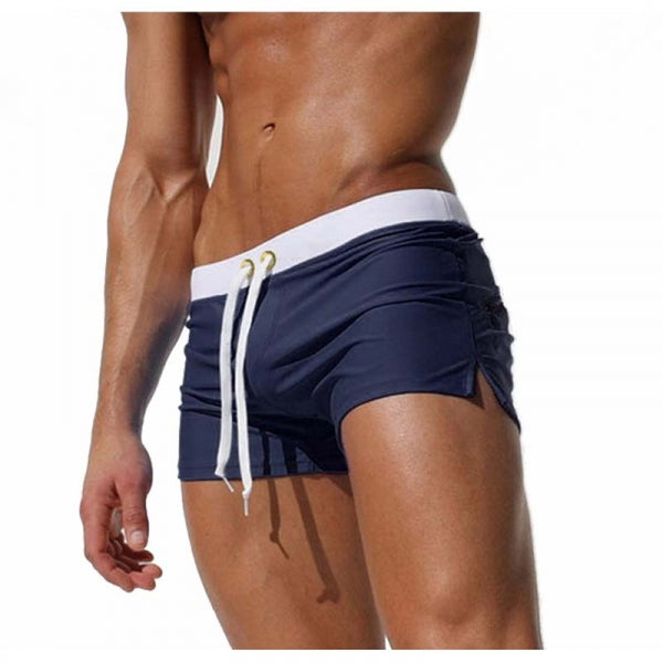 Back Zipper Pocket Summer Beach Surf Water Sports Shorts Boxers Swim Trunks for Men - Navy Size XL