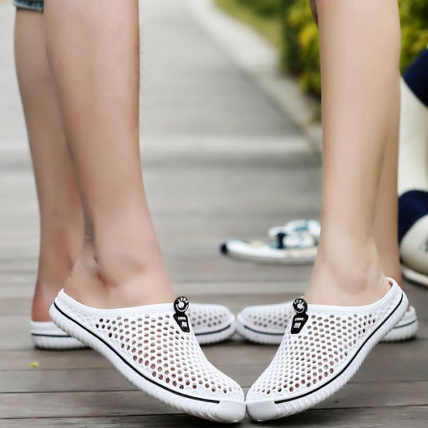 Big Size Hollow Out Outdoor Slippers Breathable Slip-on Beach Slippers White #36