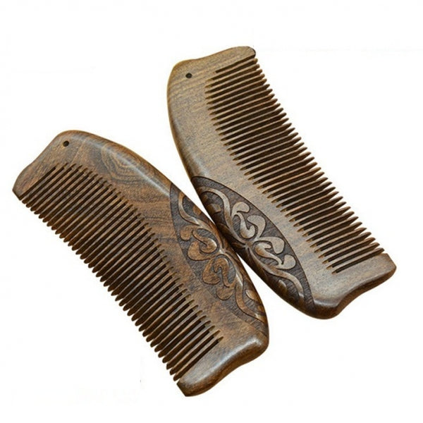 Black Golden Sandalwood Hair Comb Double Sides Carving Comb Hair Brush