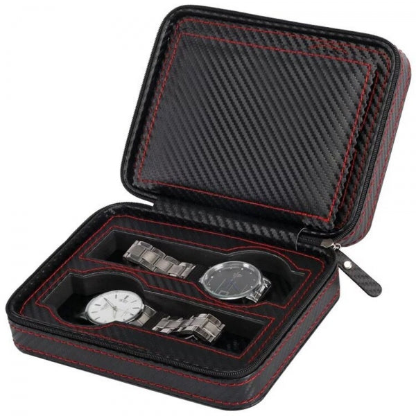 Black Zippered Watches Box Travel Case Watch Storage Organizer Collection Portable Display Container Top Grade Carbon Fibre PU Leather - 4 Slots