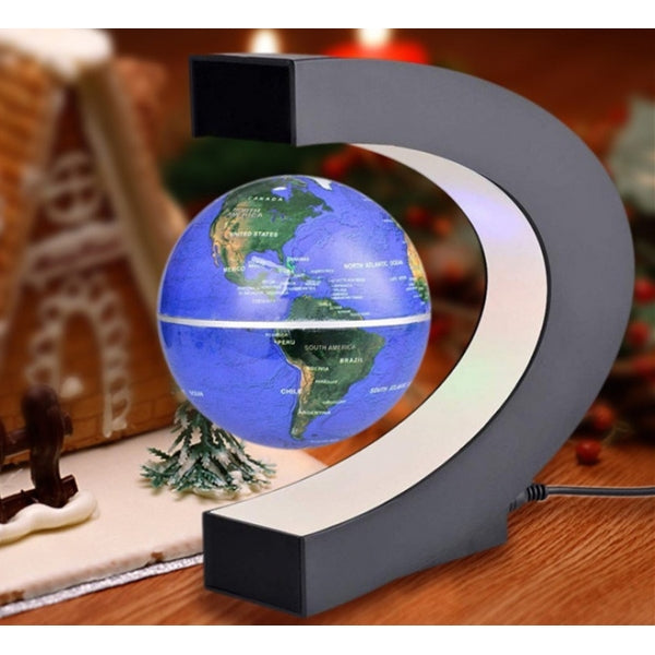 C shape Magnetic Levitation Floating Globe LED Light World Map - US Plug Black & Blue
