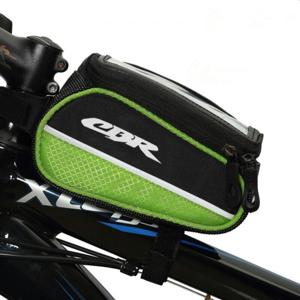 CBR Car Beam Bag Storage Bicycle Bike Frame Bag for 5.5inch Phones Black & Green