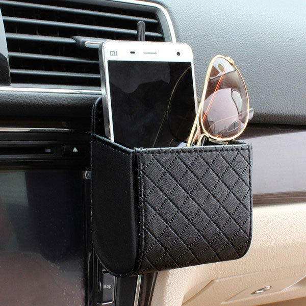 Car Air PU Box Organizer Phone Storage Holder - Black