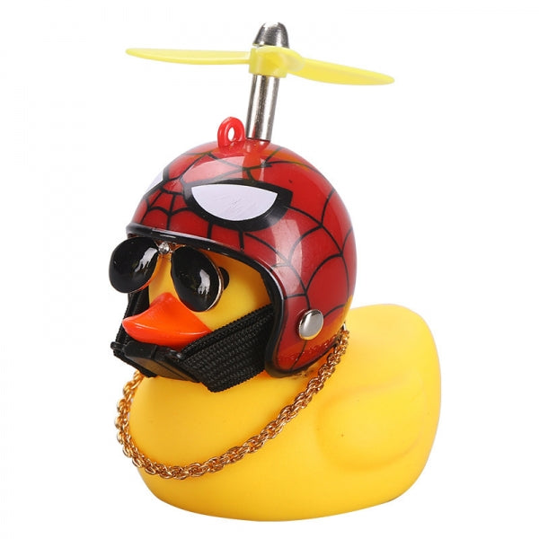 Car Cartoon Yellow Silica Gel Little Duck Helmet with Propeller Sunglasses Necklace Decoration - Type C