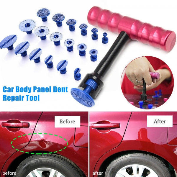 Car Dent Repair Puller Paintless Removal T-Handle Bar Tool + 18Pcs Puller Tabs