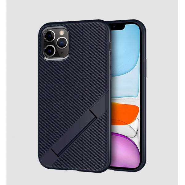 Carbon Fiber Case Soft TPU Shockproof Foldable Stand Phone Case Full Body Protective Case for iPhone 11 Pro - Blue