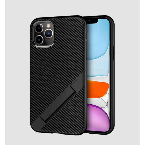 Carbon Fiber Case Soft TPU Shockproof Foldable Stand Phone Case Full Body Protective Case for iPhone 11 Pro Max - Black