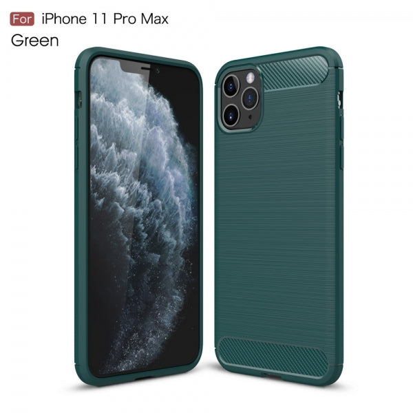 Carbon Fiber Shockproof TPU Case Slim Silicone Anti-Scratches Flexible Protective Case for iPhone 11 Pro Max - Green