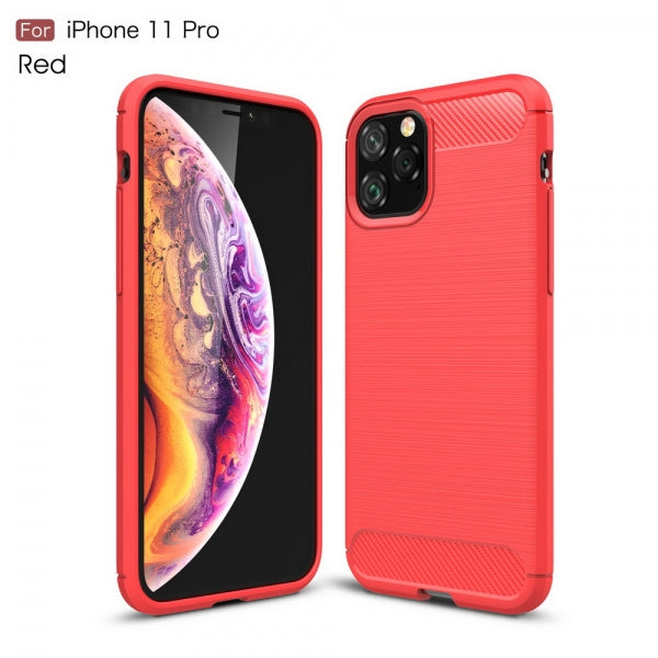 Carbon Fiber Shockproof TPU Case Slim Silicone Anti-Scratches Flexible Protective Case for iPhone 11 Pro - Red