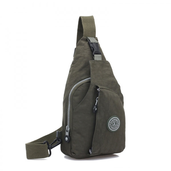 Casual Travel Fashionable Pure Color Oxford Cloth Chest Bag Army Green