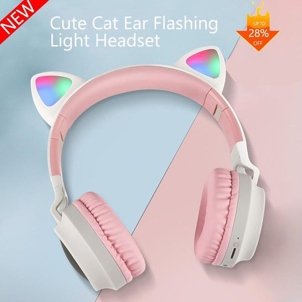 Cat Ear Bluetooth Headset Noise Reduction Cute Style LED Luminous Headset Supports TF Card 3.5mm Jack With Microphone
