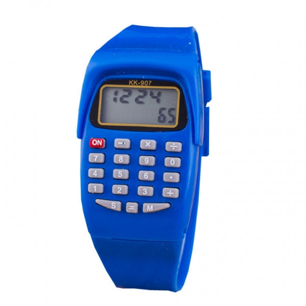 Children Silicone Date Multi-Purpose Electronic Wrist Calculator Watch - Blue